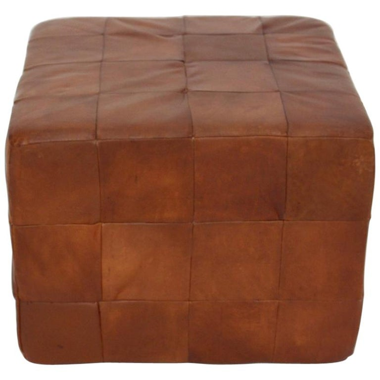 De Sede Vintage Cognac Patchwork Leather Cubus Stool, Switzerland, 1970s For Sale