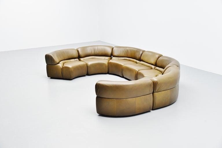 Swiss De Sede Cosmos Lounge Sofa Switzerland 1970 Olive Green