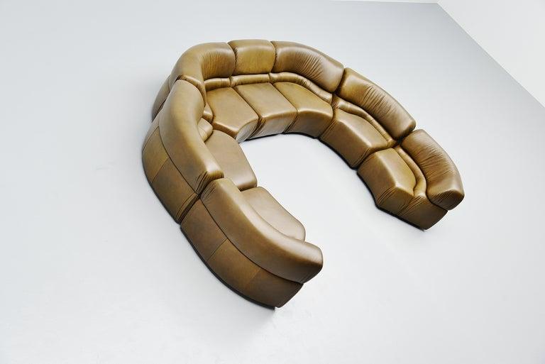 Late 20th Century De Sede Cosmos Lounge Sofa Switzerland 1970 Olive Green