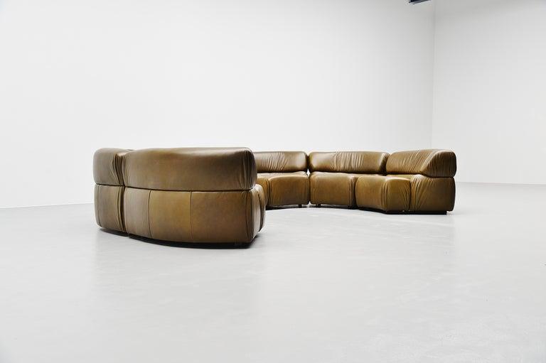 Leather De Sede Cosmos Lounge Sofa Switzerland 1970 Olive Green