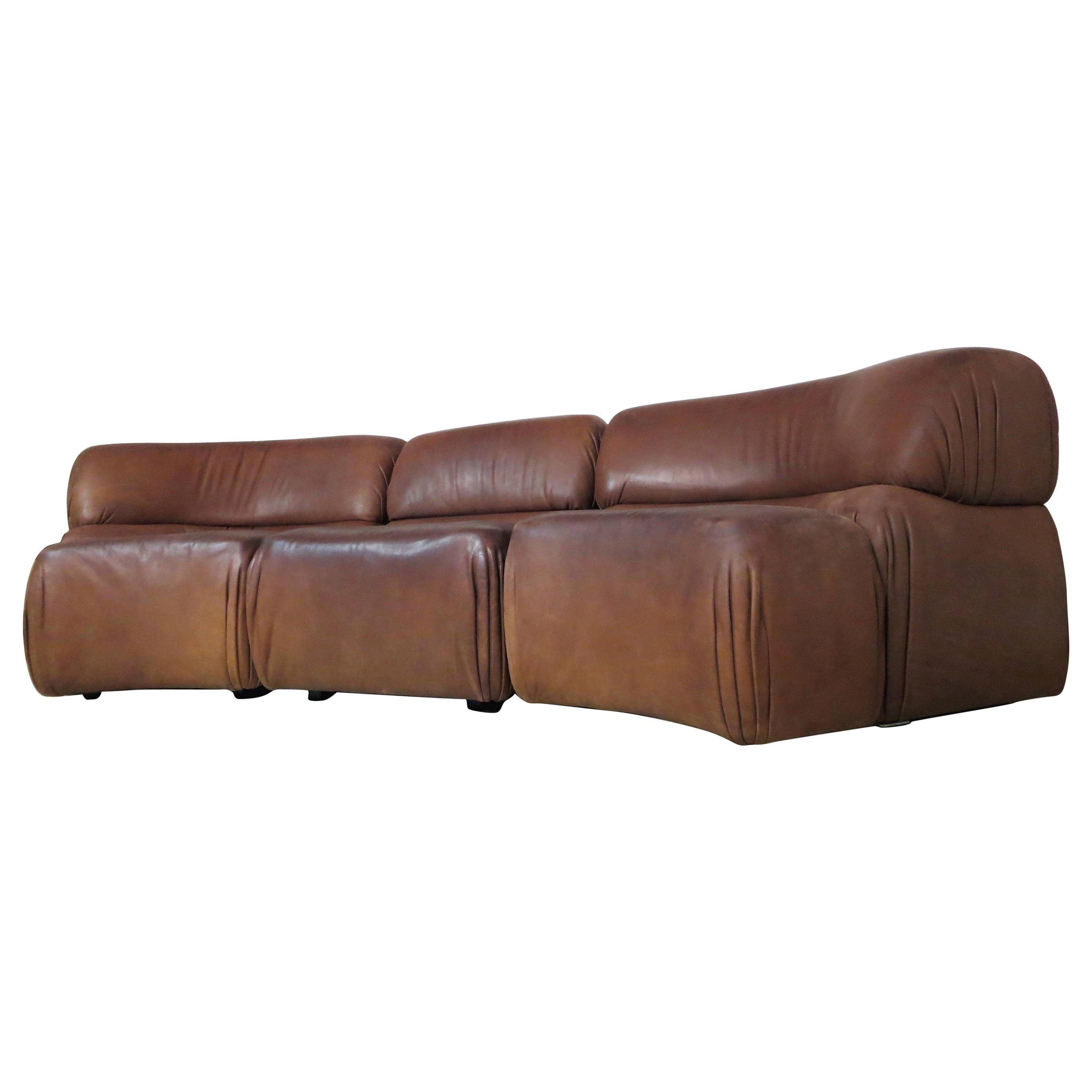De Sede Cosmos Modular Sectional Cognac Leather Curved Lounge Vintage Sofa 1970s