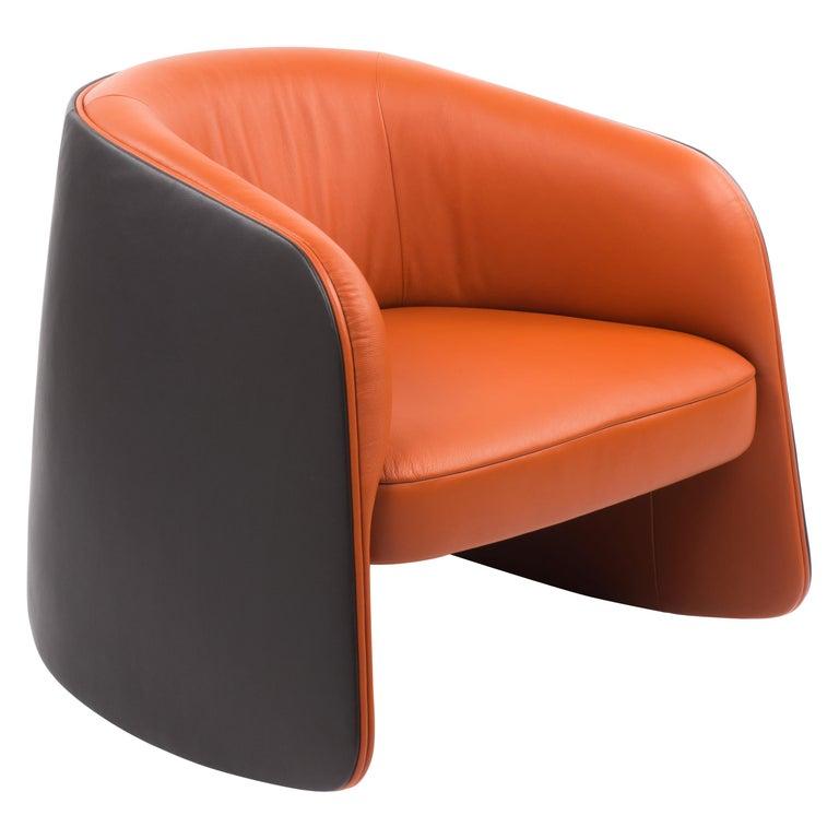For Sale: Orange (Maine) De Sede Customizable Leather Rocking Chair
