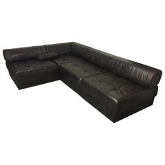 De Sede Dark Brown Patchwork Patinated Leather DS88 Modular Sofa