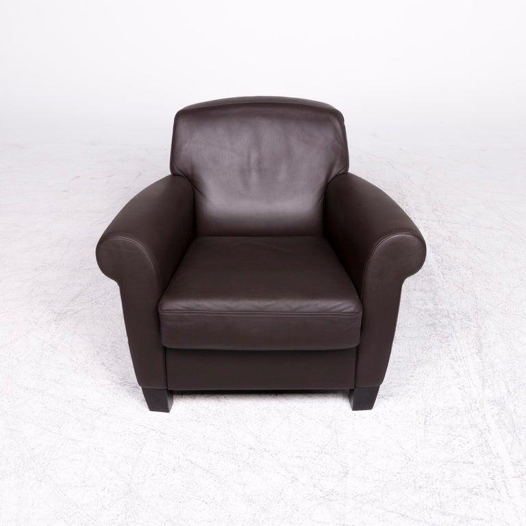 Contemporary De Sede Designer Leather Armchair Set Brown Genuine Leather Chair