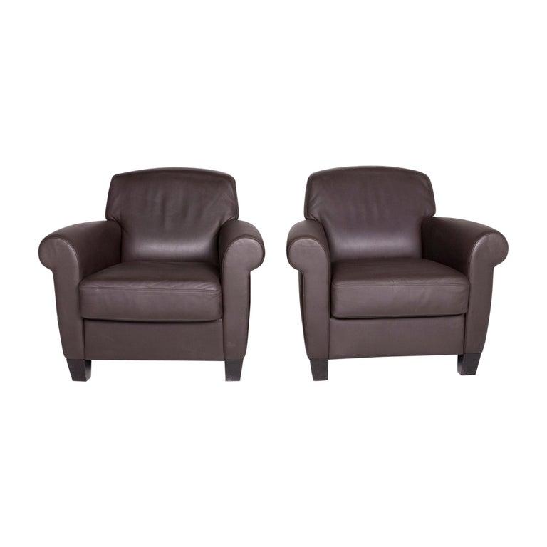 De Sede Designer Leather Armchair Set Brown Genuine Leather Chair