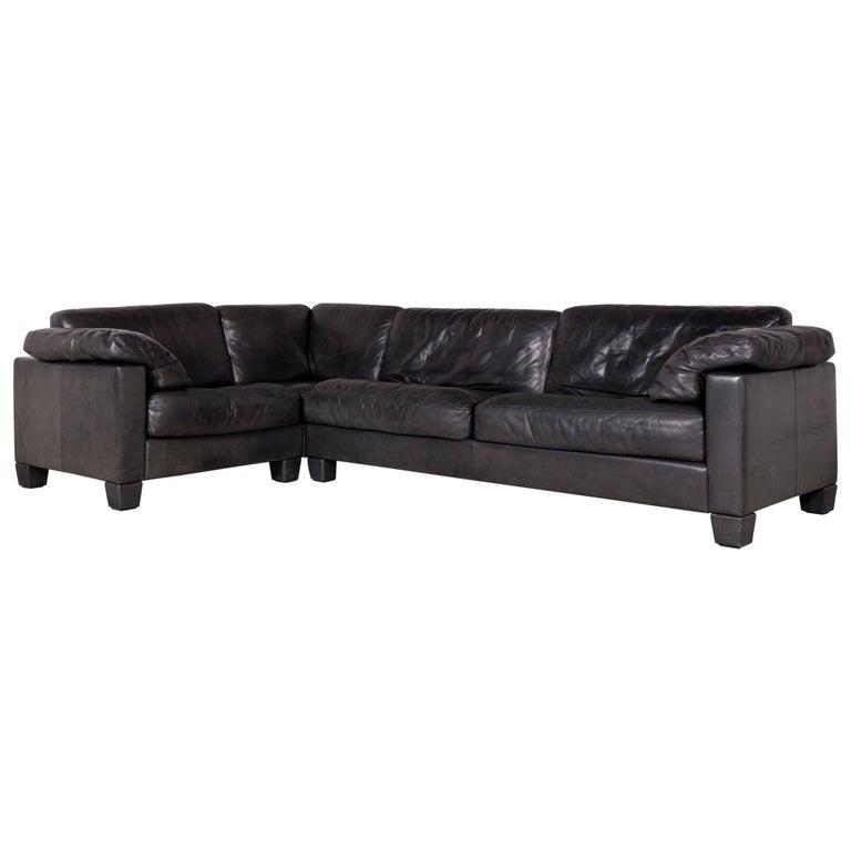 De Sede Designer Leather Sofa Black Corner Couch