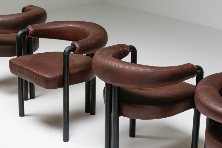Mid-Century Modern De Sede Dining Chairs by Nienkamper in Brown Leather and Black Tubular Steel For Sale