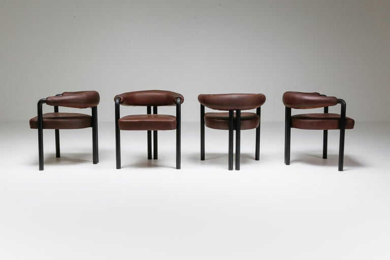 Swiss De Sede Dining Chairs by Nienkamper in Brown Leather and Black Tubular Steel For Sale