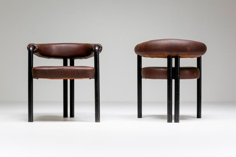 Mid-20th Century De Sede Dining Chairs by Nienkamper in Brown Leather and Black Tubular Steel For Sale