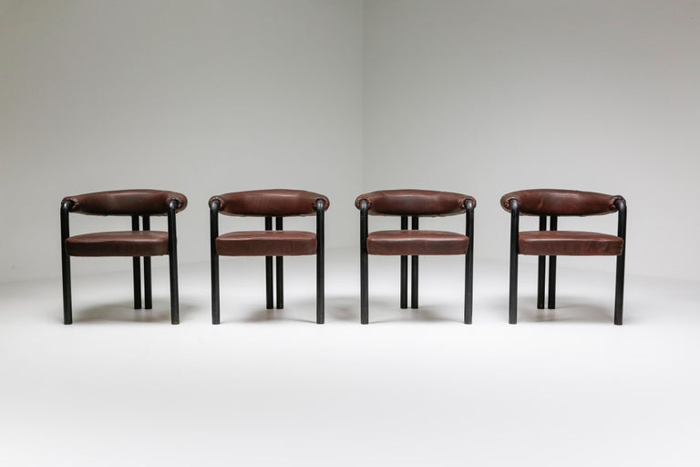 De Sede Dining Chairs by Nienkamper in Brown Leather and Black Tubular Steel For Sale 1