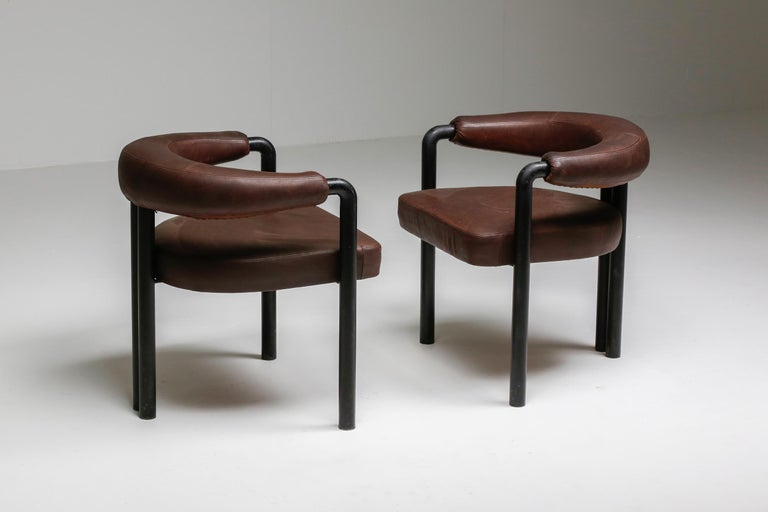 De Sede Dining Chairs by Nienkamper in Brown Leather and Black Tubular Steel For Sale 2