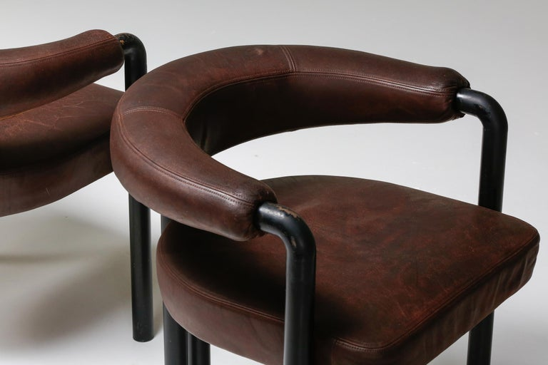 De Sede Dining Chairs by Nienkamper in Brown Leather and Black Tubular Steel For Sale 3