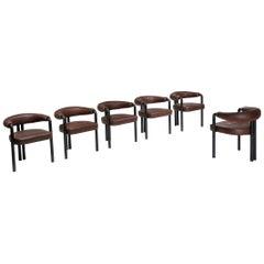 De Sede Dining Chairs by Nienkamper in Brown Leather and Black Tubular Steel