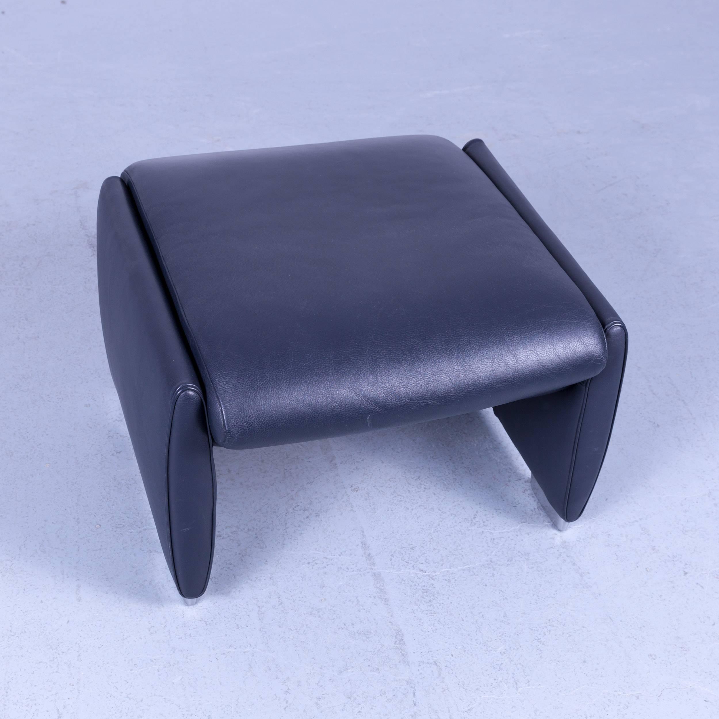 Marvelous De Sede Ds 10 Designer Leather Footstool Dark Navy Blue Theyellowbook Wood Chair Design Ideas Theyellowbookinfo