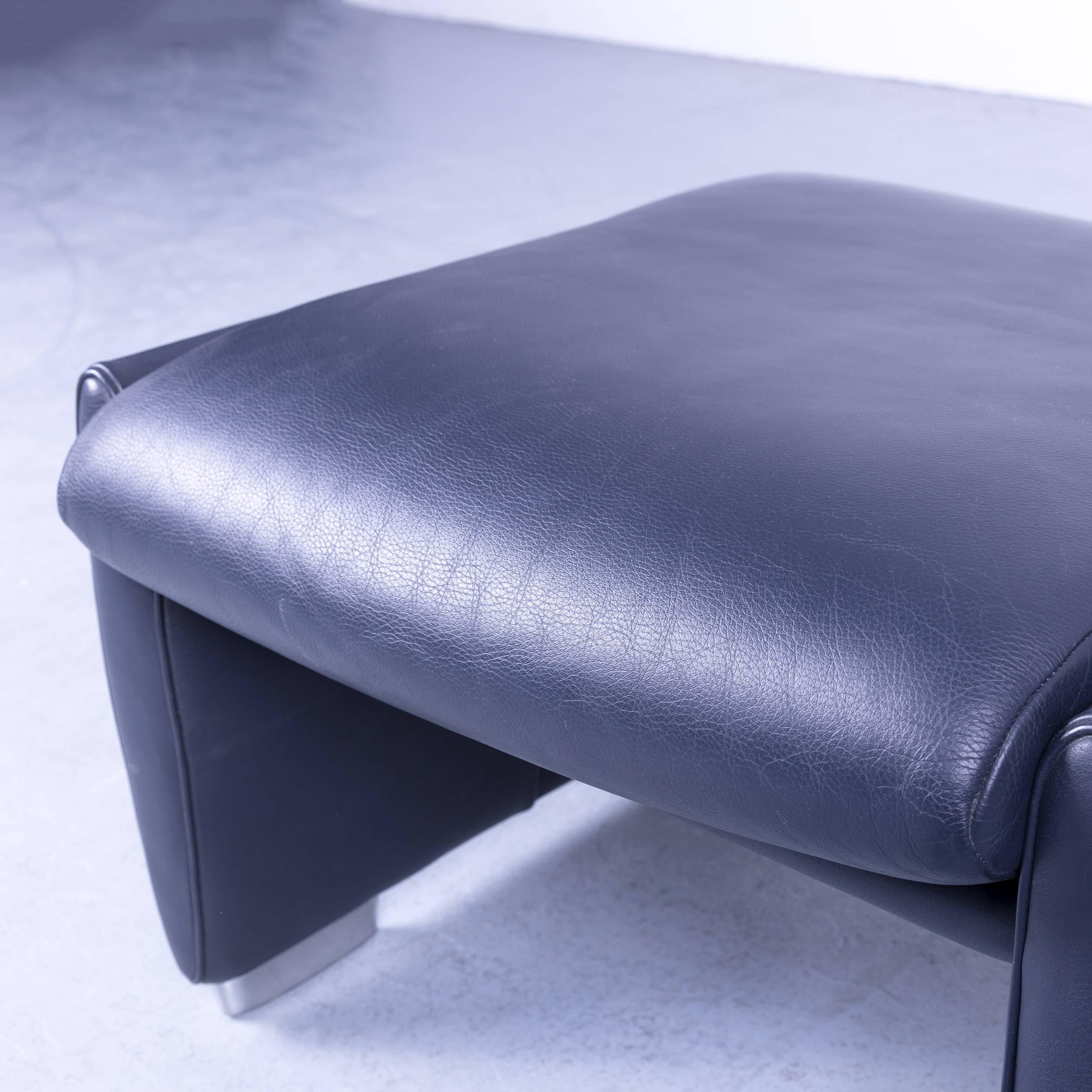 Groovy De Sede Ds 10 Designer Leather Footstool Dark Navy Blue Theyellowbook Wood Chair Design Ideas Theyellowbookinfo