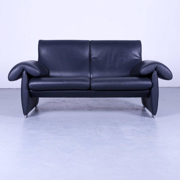 Designer Leather Furniture: De Sede DS 10 Designer Leather Sofa Set Dark Navy Blue