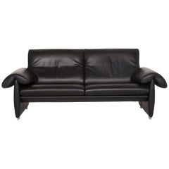 De Sede DS 10 Leather Sofa Black Two-Seat Couch
