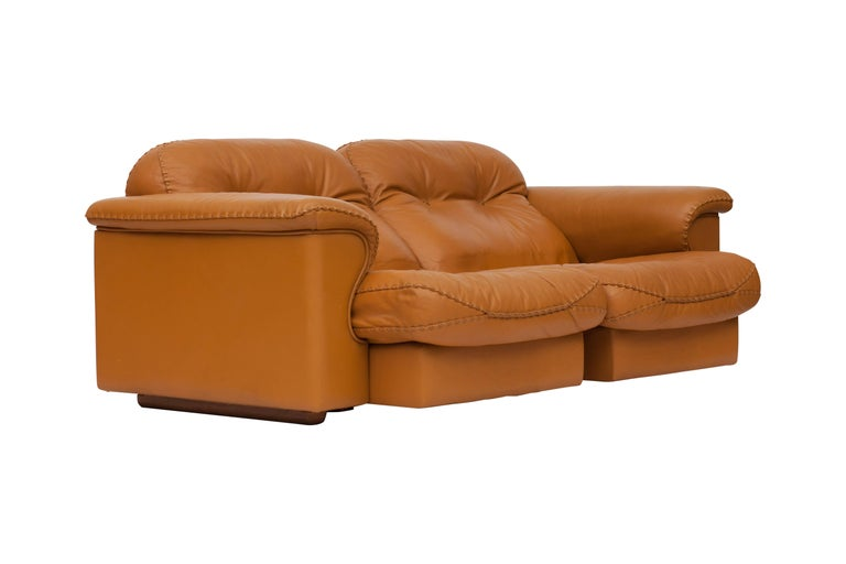Swiss De Sede Ds 101 Brutalist Brown Leather Adjustable Sofa For Sale