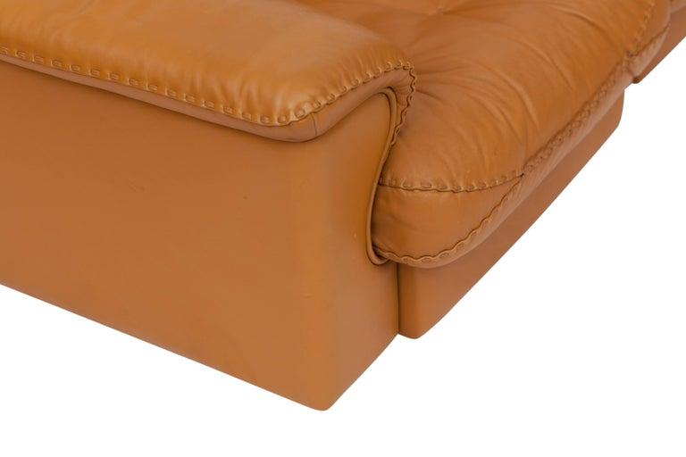 Mid-20th Century De Sede Ds 101 Brutalist Brown Leather Adjustable Sofa For Sale