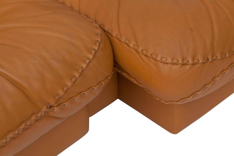De Sede Ds 101 Brutalist Brown Leather Adjustable Sofa For Sale 1