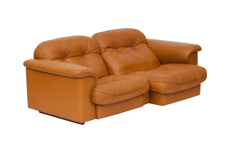 De Sede Ds 101 Brutalist Brown Leather Adjustable Sofa For Sale 2