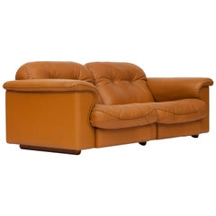 De Sede Ds 101 Brutalist Brown Leather Adjustable Sofa