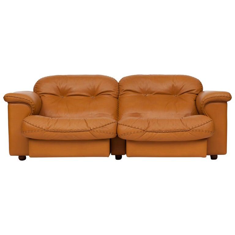 De Sede Ds 101 Brutalist Brown Leather Adjustable Sofa For Sale