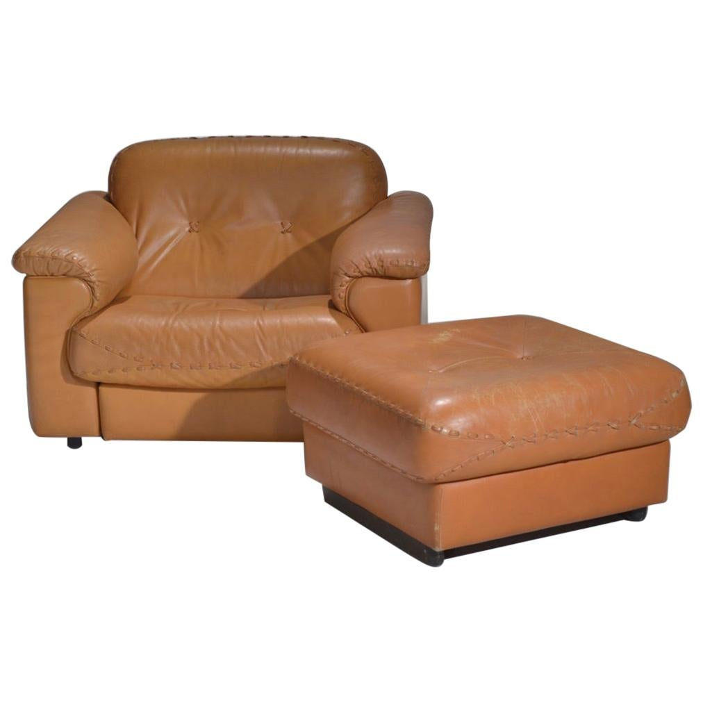 """De Sede """"DS-101"""" Leather Lounge Chair and Ottoman, 1960s"""