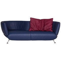 De Sede DS 102 Leather Sofa Blue Three-Seat Couch