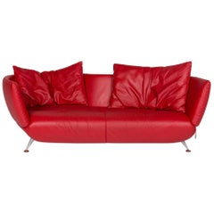 De Sede DS 102 Leather Sofa Red Three-Seat Couch