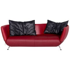 De Sede DS 102 Leather Sofa Red Wine Red Three-Seat Couch