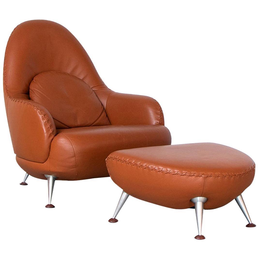 De Sede DS-102 Lounge Armchair and Hocker in Cognac Leather by Mathias Hoffmann