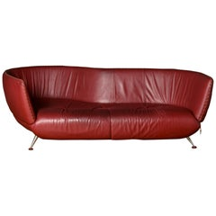 De Sede DS-102 Sofa Leather Red Three-Seat Couch by Matthias Hoffmann