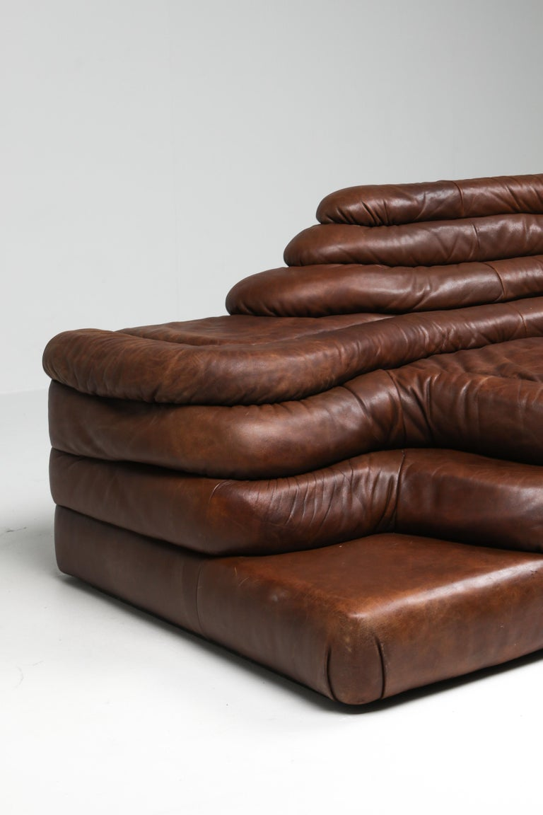 De Sede DS 1025 Terrazza Lounge Chair in Brown Leather For Sale 5