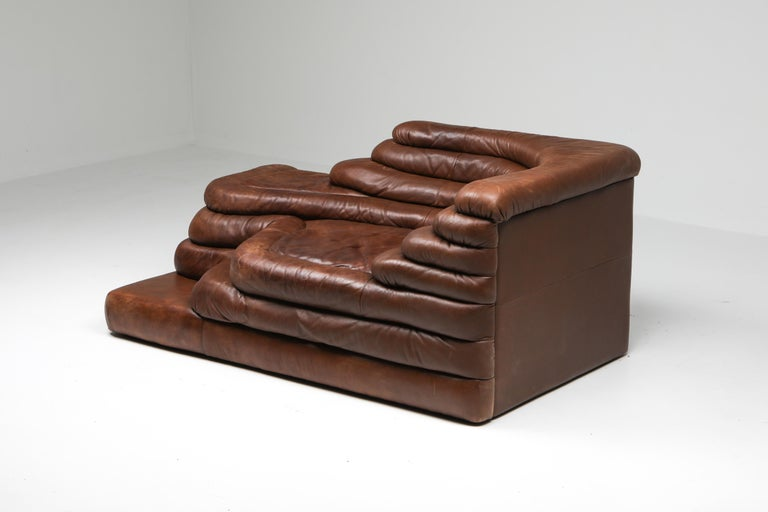 De Sede DS 1025 Terrazza Lounge Chair in Brown Leather For Sale 6