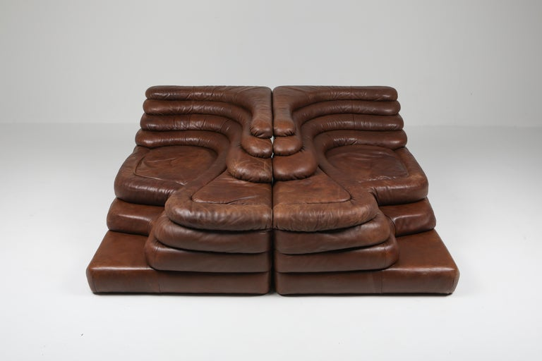 Mid-Century Modern De Sede DS 1025 Terrazza Lounge Chair in Brown Leather For Sale