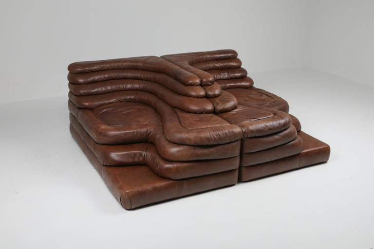 20th Century De Sede DS 1025 Terrazza Lounge Chair in Brown Leather For Sale
