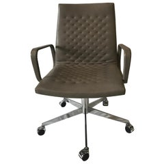 De Sede DS-1051 Conference Chair, Taupe Leather and Chrome Base