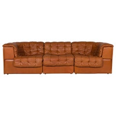 De Sede DS 11 Leather Sofa Cognac Brown Four-Seat Couch