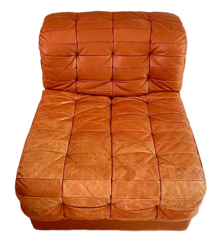 Swiss De Sede DS-11 Modular Six-Piece Leather Sofa For Sale
