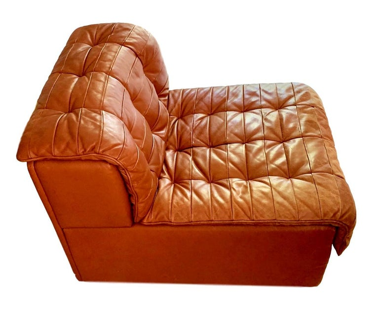De Sede DS-11 Modular Six-Piece Leather Sofa In Good Condition For Sale In Los Angeles, CA