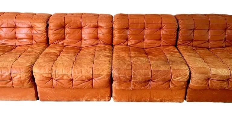 Late 20th Century De Sede DS-11 Modular Six-Piece Leather Sofa For Sale