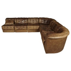 De Sede Ds 11 Sectional Patchwork Sofa in Cognac Leather, 1970s