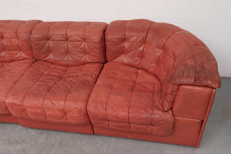 Mid-Century Modern De Sede DS 11 Terracotta Leather Sectional Sofa For Sale
