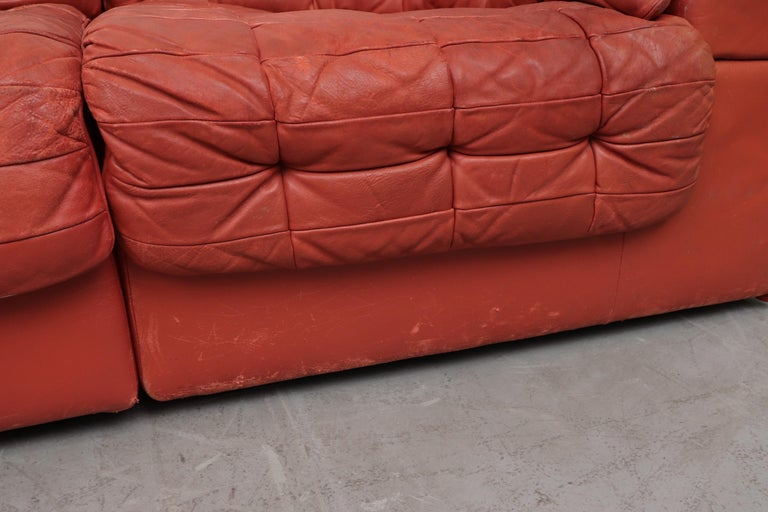 De Sede DS 11 Terracotta Leather Sectional Sofa In Good Condition For Sale In Los Angeles, CA