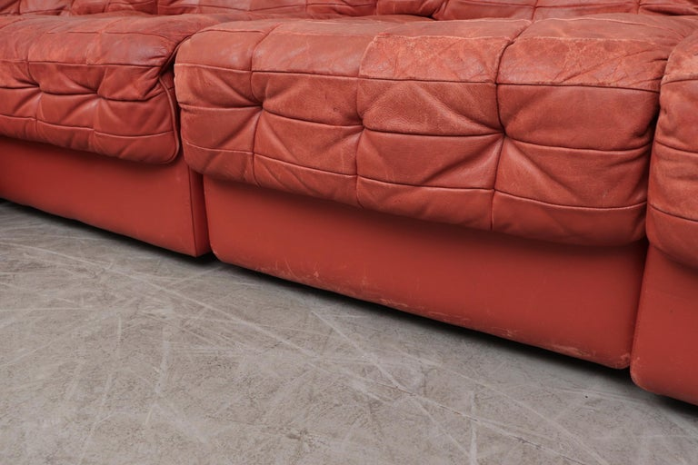 Late 20th Century De Sede DS 11 Terracotta Leather Sectional Sofa For Sale