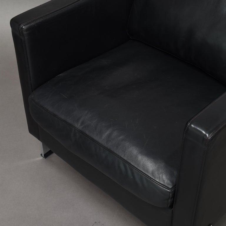 De Sede DS-118 Black Leather Lounge Armchairs, Switzerland For Sale 6