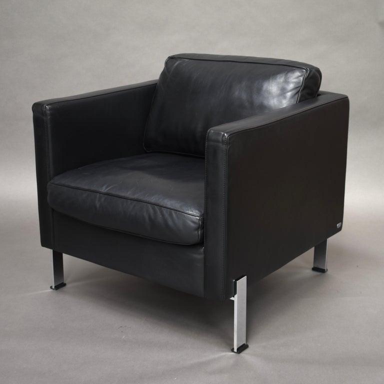 Swiss De Sede DS-118 Black Leather Lounge Armchairs, Switzerland For Sale