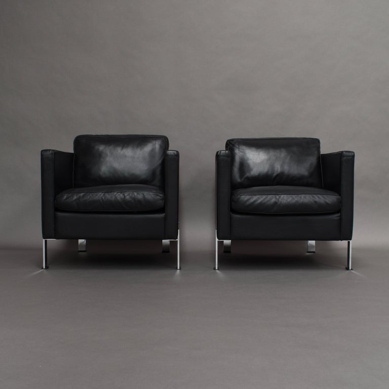 De Sede DS-118 Black Leather Lounge Armchairs, Switzerland In Good Condition For Sale In Pijnacker, Zuid-Holland