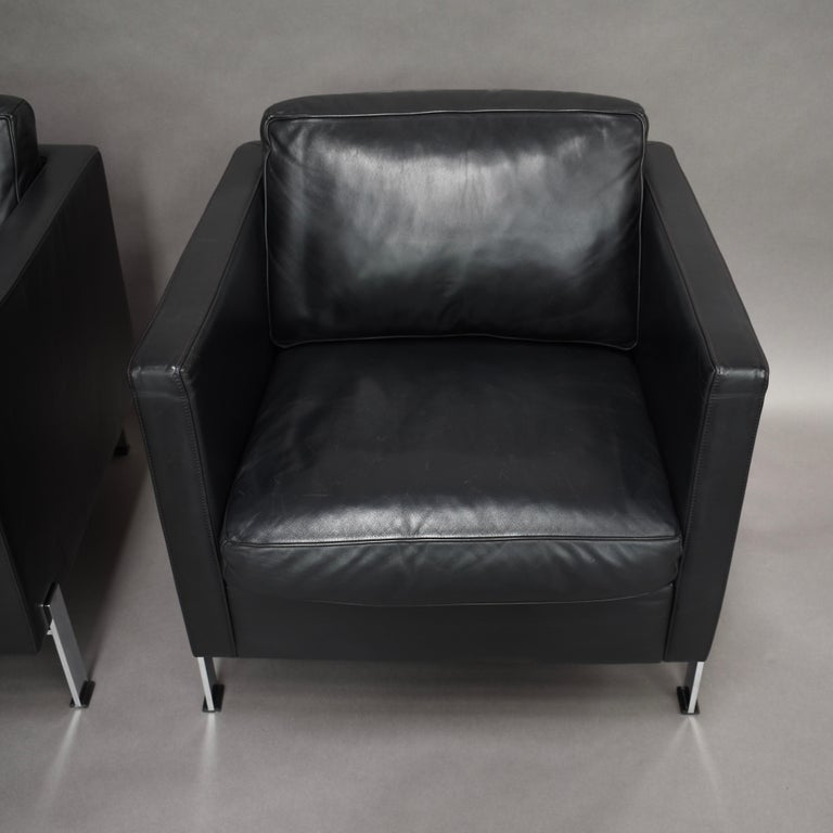 Late 20th Century De Sede DS-118 Black Leather Lounge Armchairs, Switzerland For Sale